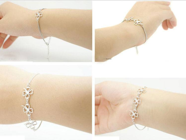 New Fashion 925 Sterling Silver Bracelet Four Leaf Charm Bracelet & Bangle for Women Wedding Party Jewelry Gifts
