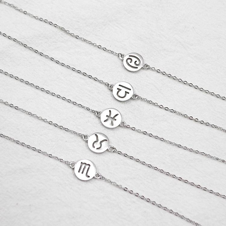 Factory Price 100% 925 Sterling Silver Fashion Concise 12 Symbol Bracelets Fine Jewelry for Female