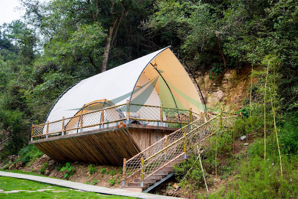 Well-designed African Safari Tent - Hot sale glamping luxury tent film cover geodesic Safari hotel tent NO.023 – Aixiang