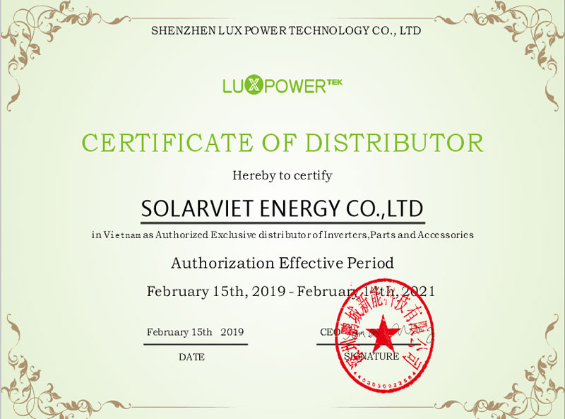SOLARVIET ENERGY CO. Vetnam Sole Distributor bo'l