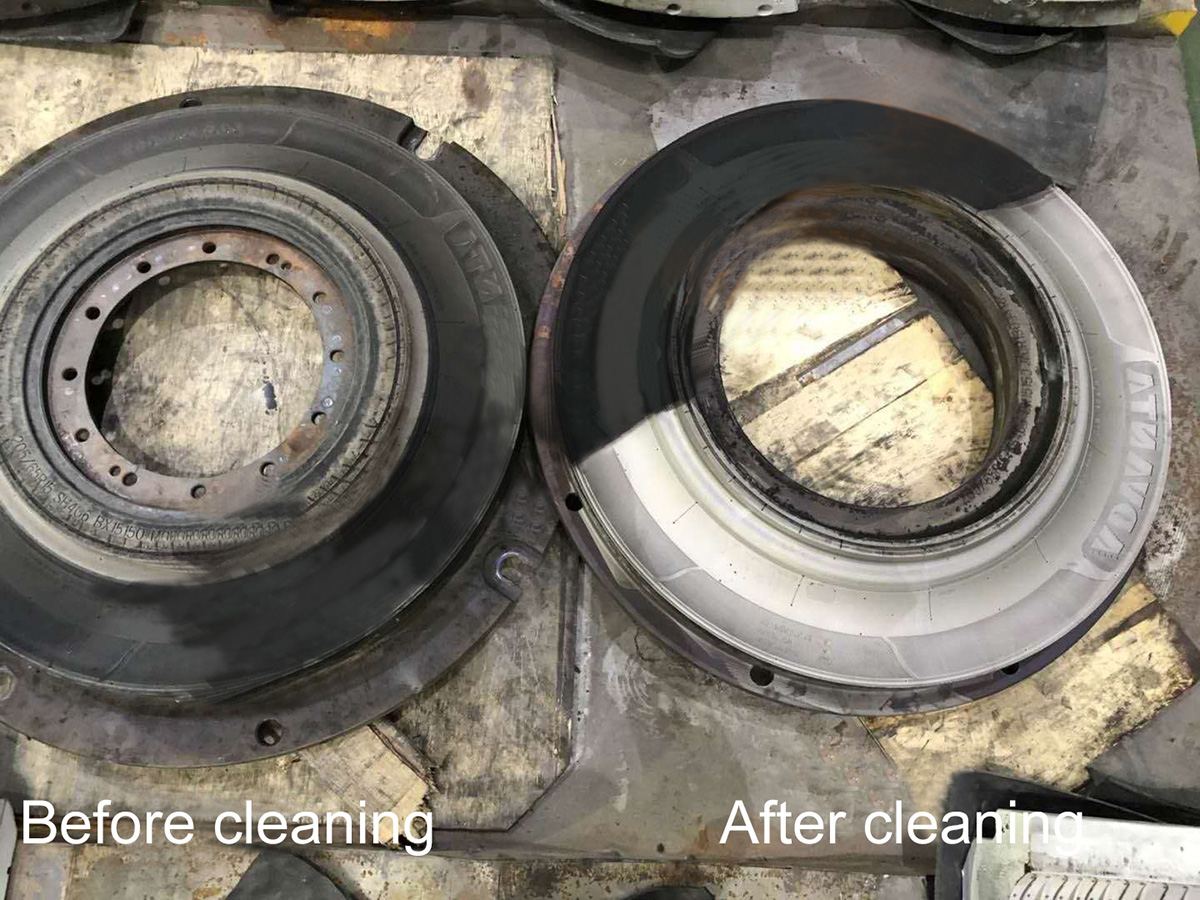 Laser cleaning rubber tire mold