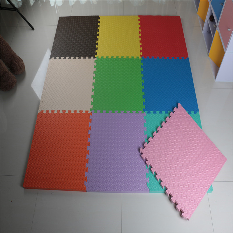 9-tile Multi-color Exercise Mat Solid Foam EVA Playmat Kids Safety Play Floor