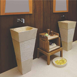Natural stone rustic pedestal washing sink