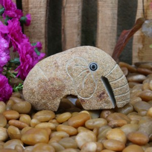 Small stone ornament elephant sculpture