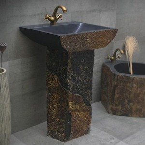 Natural cobble stone wash basin sink