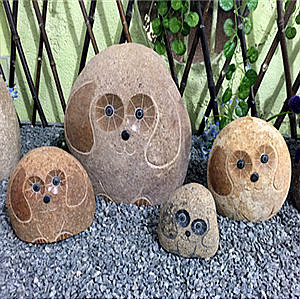 Rock stone hedgehog sculptures