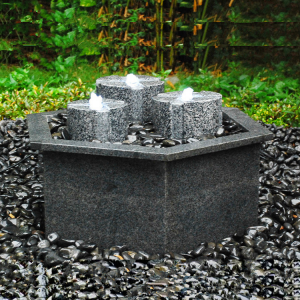 Three pillars granite  block fountain with basin for sale