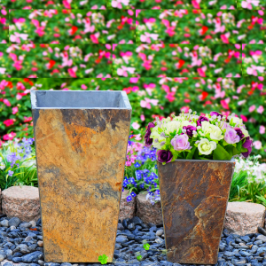 Granite stone outdoor square planter flower pots