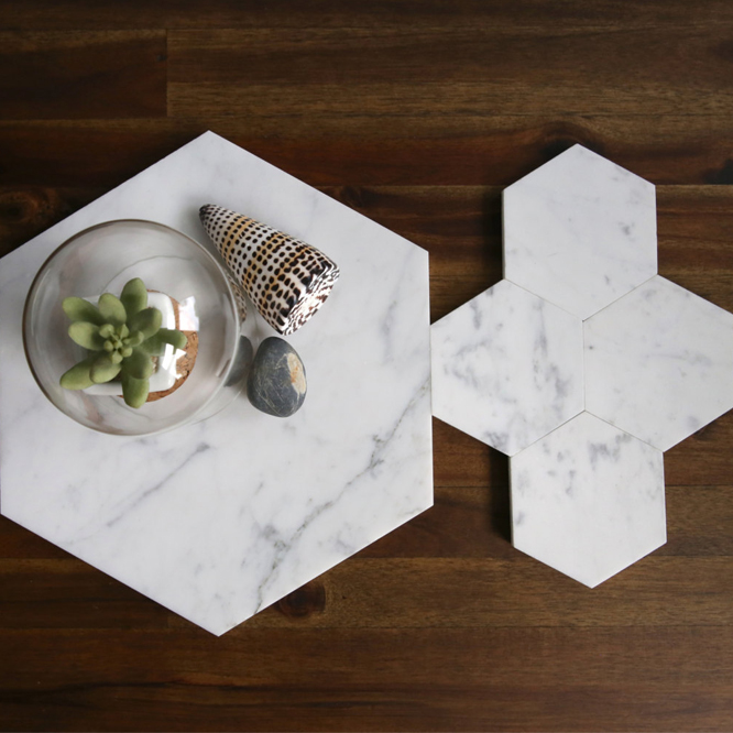 Custom White Hexagon Carrara Marble Coasters Featured Image