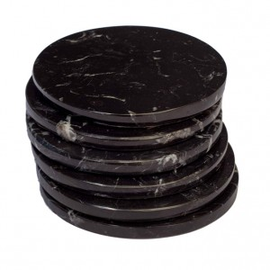 Black Marble Stone Coasters – Polished Coasters – (10 cm) in Diameter