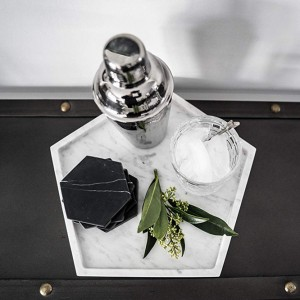Polished Black Marble Stone Coasters Set