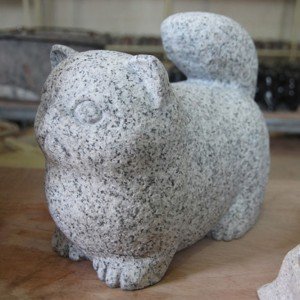 Carving stone cat sculpture