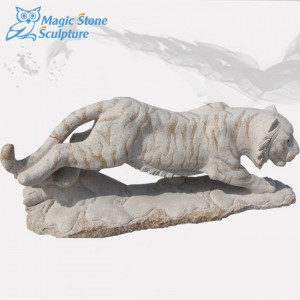 White marble stone tiger sculpture