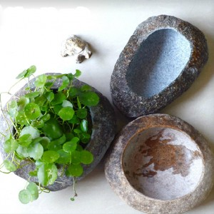Small cobble stone flower pot for garden decor