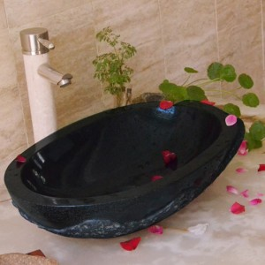 Black oval shape limestone kitchen basin sinks