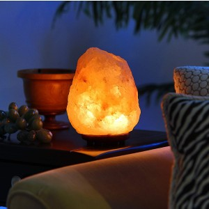 "Hand Crafted Natural Himalayan 7″ to 8"", 6-8 lbs Salt Lamp On Wooden Base"