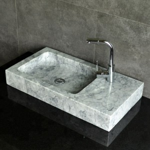 Rectangle white marble stone vessel sink