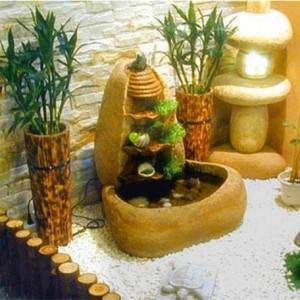 Pebble stone water fountains garden
