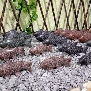 Granite garden fish stone carving