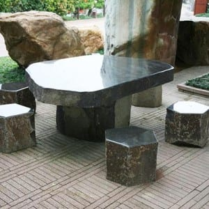 Basalt table and chair set