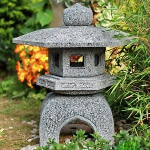 Decorative granite garden lantern