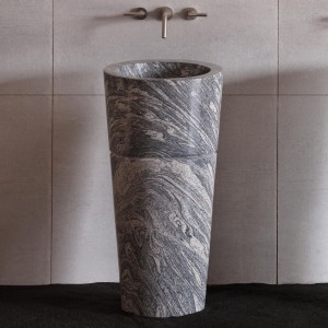 Granite pedestal stone bathroom sink