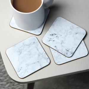White Square Marble Stone Coasters – Polished Coasters