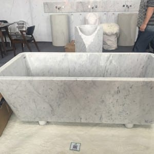 OEM manufacturer River Pebble Stone - Rectangle marble stone freestanding bathtub – Magic Stone