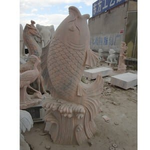 China Gold Supplier for Outdoor Water Wall Fountain - Life size red antique garden stone fish sculpture outdoor – Magic Stone