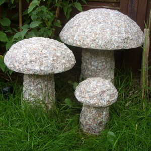 Garden decorative stone mushrooms