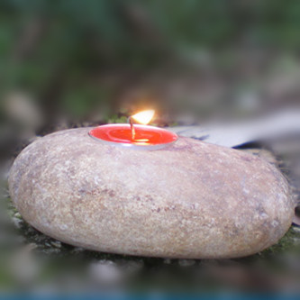 Special Design for Stone Edging - Small cobble stone decorative christmas tealight pillar candle holder – Magic Stone
