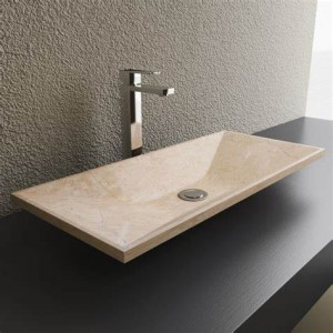 Rectangle shape granite stone modern bathroom sink