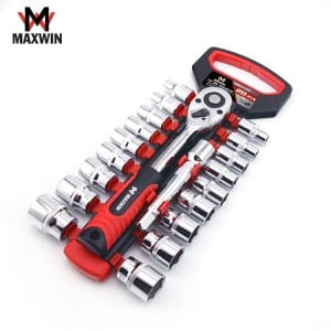 20 PCS Car Repair Hand Tools 1/2 Drive Chrome Vanadium Socket 72 Tooth Ratchet Wrench Set