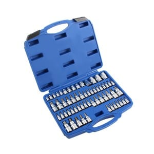 "Customized 60pcs 1/4"" 1/2"" 3/8"" Drive Cr-v Mechanic Tool Box Torx and Star Socket Bit Set"