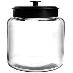 2 gallon Glass flour Jars with Fresh Sealed Brushed Metal Lids