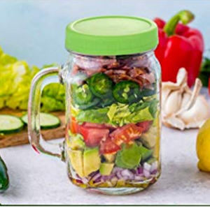 16OZ Clear Handle Glass Mason Jar With Colored Plastic Lids
