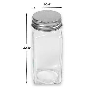 4OZ Mini Square Glass Spice Bottle Label with Silver Lid