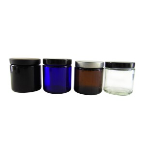 MBK Packaging 4oz clear straight side glass jar with metal lid