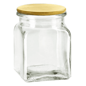 8.5OZ Square Glass Seed Jar with Wooden Lid