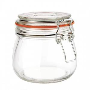 16OZ 500ml Clear Glass Clip Jar for Food Stoarge