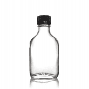 100ml Clear Straight Side Flask Bottle with Tamper proof Lid