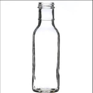 12 oz Clear Glass Round Long Ring Neck Sauce Bottle