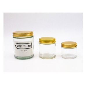 MBK Packaging 4oz clear straight side glass jar with golden alumiumum lid