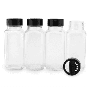 100ml French Square Spice Jar with Shaker Pourer Lid