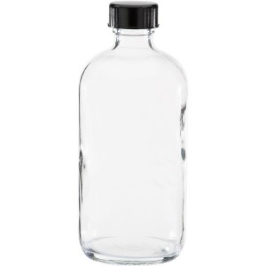 240ml Clear Glass Bottle with plastic screw lid
