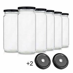 MBK Packaging 16OZ Glass Drinking Jar with Lid and Hole