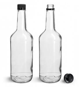 32OZ Clear Long Neck Glass Liquor Mixer Bottle with Tamper Evident Cap