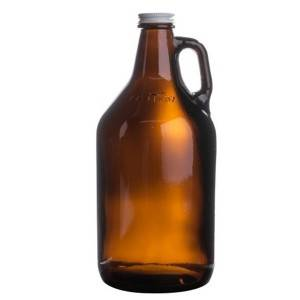 64 oz Amber Glass Jug with Black Plastic Cap