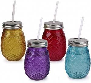 Pineapple Football Glass Drinking Mason Jar Set with Handle with lid and hole