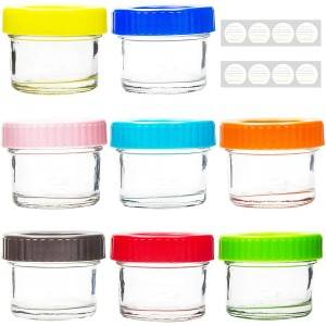 Baby Food Glass Mason Jar With Colored Plastic Lids